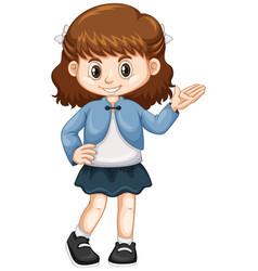 little girl in blue jacket vector image