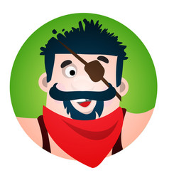 round sticker with the image of a fun pirate with vector image vector image