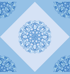 seamless pattern with blue ornamental decor vector image vector image
