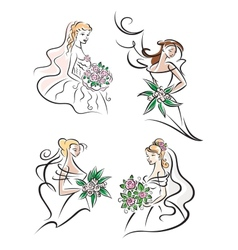 Bride with bouquet icons vector image