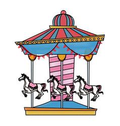 carnival carousel horse circus park festival vector image