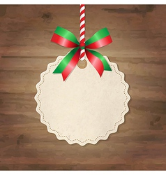 Christmas Label With Ribbon vector image