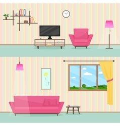 Colorful flat style livingroom interior vector image