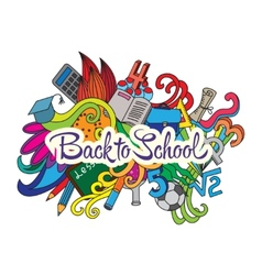 decorative doodles design card Back to school vector image