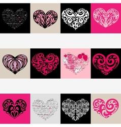 Heart set Love background vector image vector image