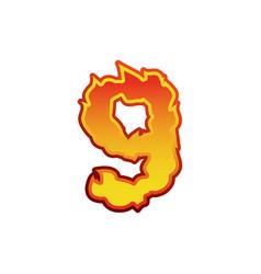 Number 9 fire flames font nine tattoo alphabet vector