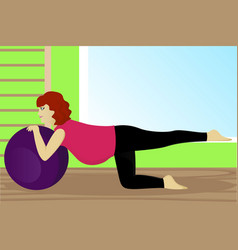 Pregnant woman on fitness ball in gym vector