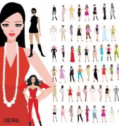 100 girls vector image