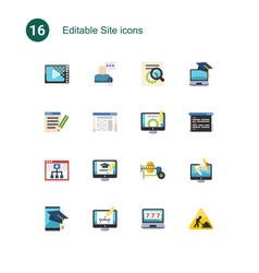 16 site flat icons set isolated on icons set vector