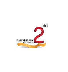 2 anniversary design logotype red color vector