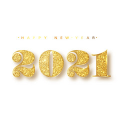 2021 happy new year gold numbers design of vector image