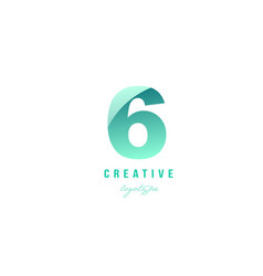 6 six green pastel gradient number numeral digit vector image