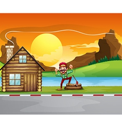 A woodman beside the wooden house vector