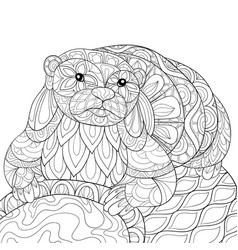 Adult coloring bookpage a cute otter on the stone vector