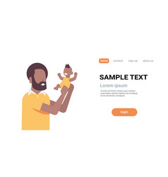 African american father holding newborn son man vector