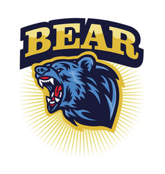 Angry grizzly bear roaring logo mascot vector