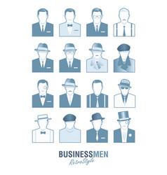 avatars business retro men2 vector image