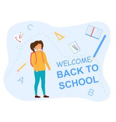 back to school concept with happy schoolgirl vector image