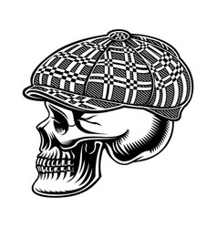 black and white of a bully skull in cap vector image
