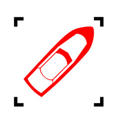 boat sign red icon inside black focus vector image
