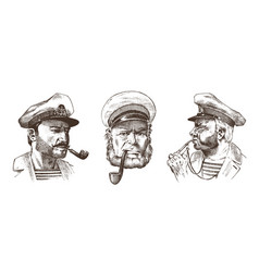 boatswain with pipe portrait of a sea captain vector image