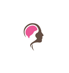 brain mind inside head logo design vector image