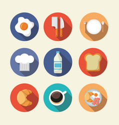 breakfast cooking icons flat design vector image