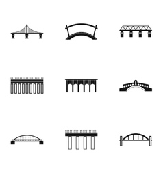 Bridge icons set simple style vector image