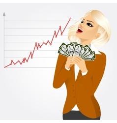 Businesswoman enjoying money vector