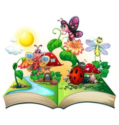 Butterflies and other insects in the book vector image