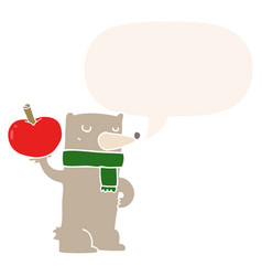 Cartoon bear and apple and speech bubble in retro vector