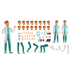 cartoon medicine doctor creation kit medical man vector image
