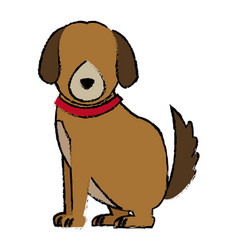Cartoon sitting dog with collar pet family vector