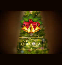 christmas background golden bells vector image