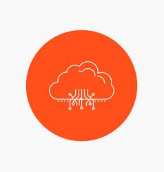 Cloud computing data hosting network white line vector