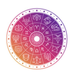 Colorful astrology circle design with horoscope vector