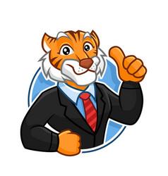 Corporate tiger mascot character design vector