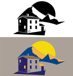 Country house in mountains vector