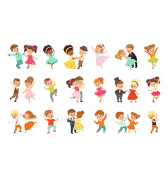 Couple little kids dancing set modern and vector