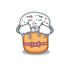 crying easter cake mascot cartoon vector image