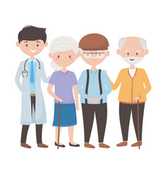Doctor old woman and men design vector