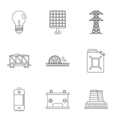 Electricity industry icon set outline style vector