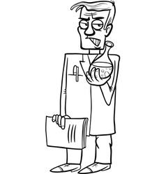 evil scientist cartoon coloring page vector image