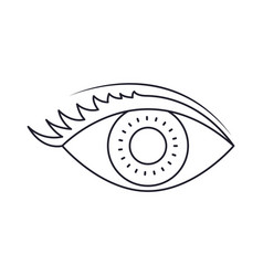 eye with eyelashes in monochrome silhouette vector image