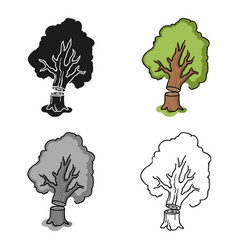 Falling tree icon in cartoon style isolated on vector