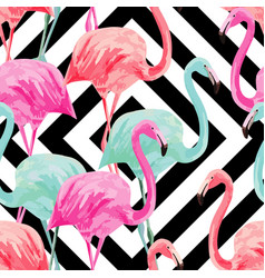 flamingo watercolor pattern geometric background vector image