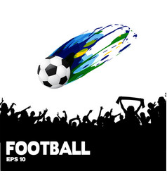 football ball flies crowd background image vector image