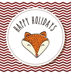 Fox cartoon icon Merry Christmas graphic vector