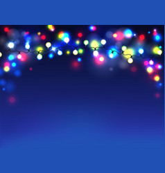 garlands on blue background diffuse lights vector image