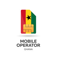 Ghana mobile operator sim card with flag vector